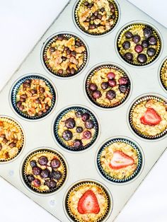 Individual baked oatmeal cups. Quick #breakfast on-the-go or #healthy #snack!