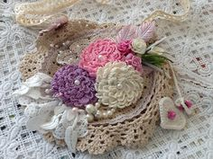 Closeup of my doily bag, crocheted flowers by Suzie (suziesue1972) on Etsy.