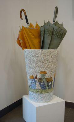 Portaombrelli Paysage | Mosaico su ceramica, tecnica diretta, marmi e smalti