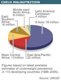 Pie chart to highlight child malnutrition.
