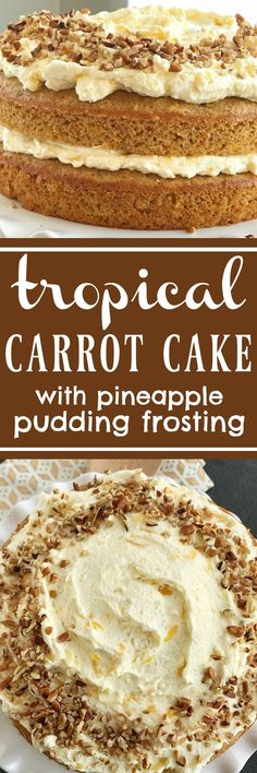 Tropical Layered Carrot Cake w/ Pineapple Pudding Frosting   Try this tropical layered carrot cake for a fun and delicious twist to traditional carrot cake. Carrot cake starts with a boxed cake mix, fresh grated carrots, mandarin oranges and is topped with an incredibly light & fluffy pineapple pudding frosting. Tropical layered carrot cake is just like the famous pig pickin' cake but with a carrot cake twist #easterdesserts #easterrecipes #carrotcake #carrotcakerecipes