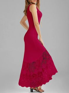Scalloped Lace Panel Fitted Maxi Tank Dress, CERISE, M in Maxi Dresses   DressLily.com