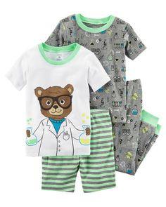 b6aa64c73 4-Piece Neon Snug Fit Cotton PJs Boys Pajamas