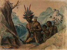 Chief of the Bororenos preparing for an attack by Jean Baptiste Debret (1768-1848, France)