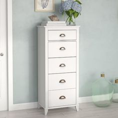 Beachcrest Home Sanmiguel 5 Drawer Chest Color: White 4 Drawer Dresser, 6 Drawer Chest, Dresser With Mirror, Chest Of Drawers, Dressers, Narrow Bedroom, Drawer Fronts, Engineered Wood, Storage Spaces