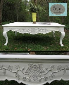 SOLD ~ Large coffee table painted with Annie Sloan Chalk Paint in Old White, distressed, and finished with Dark Wax Painted Coffee Tables, Large Coffee Tables, Painted Furniture For Sale, Dark Wax, Annie Sloan Chalk Paint, Shabby Chic Furniture, Custom Paint, Outdoor Furniture, Outdoor Decor