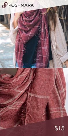 Red Plaid Wrap Scarf Beautiful Red/maroon plaid scarf wrap, 100% poly, size 59x59. Never used, brand new! Accessories Scarves & Wraps