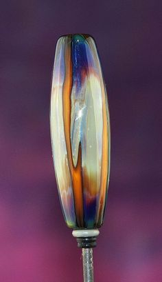 Sunrise Stripes Handmade Lampworked Glass Bead OOAK by ninaeagle