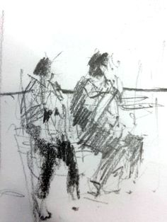 Tony Allain, waiting for the train - life is all around you, apply life drawing approaches to the life you see each day, it will rapidly increase your skill level. not caricature but full of characterful. Cool Sketches, Drawing Sketches, Art Drawings, Observational Drawing, Gesture Drawing, Figure Drawing, Painting & Drawing, Illustrations, Illustration Art