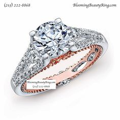 A beautiful white gold diamond engagement ring with rose gold accent and split shank design from http://www.BloomingBeautyRing.com (213) 222-8868 #SplitShank #RoseGold #DiamondRing