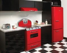 red stove and fridge