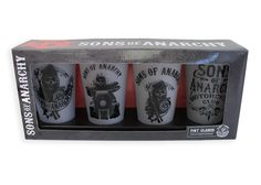 BikerOrNot Store - Sons of Anarchy - Various FROSTED Pint Glasses (Set of 4), $31.97 (http://store.bikerornot.com/sons-of-anarchy-various-frosted-pint-glasses-set-of-4/)