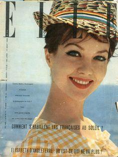 Mylène Demongeot couverture de Elle en 1959 photographiée par Henri Elwing