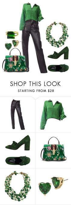 """""""green"""" by kim-coffey-harlow ❤ liked on Polyvore featuring Helmut Lang, Jean-Paul Gaultier, Anna F., Gucci, Miriam Haskell, Betsey Johnson and Gemjunky"""