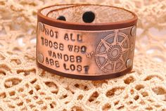 Leather Bracelet Etched Copper Compass Hand by QueSarahSera, $35.00