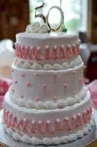 Three Tier 50th Birthday Cake for Woman with Pink Strings & Pearls.JPG