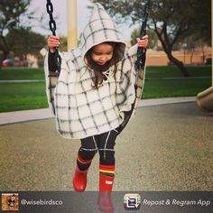 """This beauty looks adorable in our """"Cuadros"""" ruana!  And check out her leggings at @wisebirdsco #babyponcho #kidsponcho #poncho #mar_y_lana #ponchoweather"""