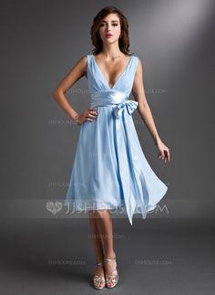 A-Line/Princess V-neck Knee-Length Chiffon Charmeuse Bridesmaid Dress With Ruffle Sash Bow(s) (007000842)