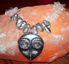 Classic Snow Owl Gemstone Necklace by EvezBeadz.ArtFire.com