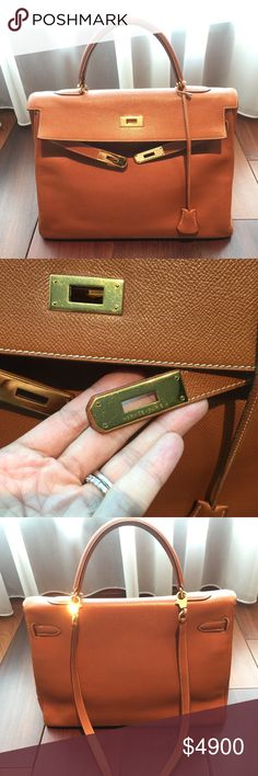 Hermes vintage Kelly 35 Hermes vintage gold Kelly 35. Graine Couchevel  leather, year- ba04a373485