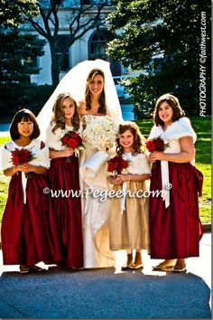 claret bridesmaid dresses | Gold and Claret Red jr. bridesmaids and flower girl dresses