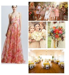 Bohemian woodsy wedding neutral pink mustard bridesmaids flowers bouquet