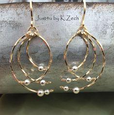 Wire Jewelry Earrings, Wire Wrapped Earrings, Metal Jewelry, Beaded Jewelry, Gold Earrings, Angel Earrings, Jewellery, Glass Earrings, Gold Jewelry