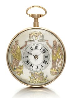Continental  ~ A pink and gold open-faced quarter repeating automaton watch ~ 1810 Gilt full plate movement, pierced and engraved balance bridge • gilt cuvette • silvered dial with polished chapter ring, Roman numerals • neo-classical scene with three-coloured gold figures holding hammers for striking action, engraved musical instruments decoration at the bottom • engine turned band and case back