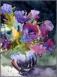 Watermill painting tutor Sarah Yeoman's picture Lisianthus. More at http://www.watermill.net/painting-holidays/painting-holidays-tutor-sarah-yeoman15.php