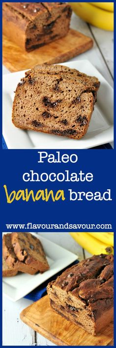 Paleo Chocolate Chip Banana Bread. Moist and tender, rises beautifully! |www.flavourandsavour.com