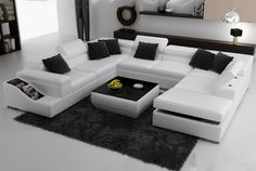 Malta White Leather Sectional Sofa - Buy Modern Leather Sofa, Furniture in fashion White Sectional, Sectional Sofa, Leather Sectional, Best Leather Sofa, White Leather, White Wood, Living Room Sofa Design, Living Rooms, Houses