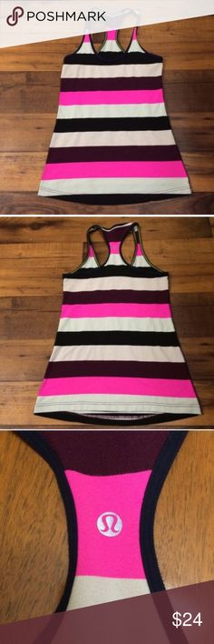 """Lululemon Striped Cool Racer Back Tank Top Lululemon Athletica Cool Racerback striped tank. Pink?black?White Striped. Measures approx, 18.5"""" front length, 25"""" back length, 14.5"""" across chest, 17.5"""" across bottom hem. Per Lulu Sizing Guide this is a 6.   Great condition, with no stains, tears, holes, some light pilling.  Bundle and Save, Happy Poshing.  Lululemon Cool Racer Back, Lululemon Athletica Tank Top, Lululemon Striped Tank Top, Lululemon Racer Back, Lululemon Racerback, Workout Tank…"""