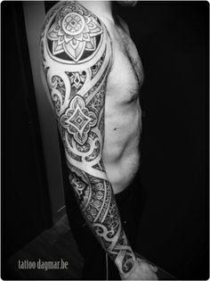 pattern tattoo sleeve, Tattoo Dagmar http://pinterest.com/treypeezy http://twitter.com/TreyPeezy http://instagram.com/OceanviewBLVD http://OceanviewBLVD.com