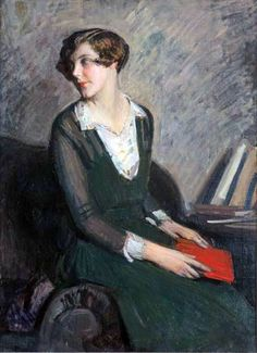 Portrait of a Girl in Green with Book (1925). Arturo Noci (Italian, 1874-1953). Oil on canvas.
