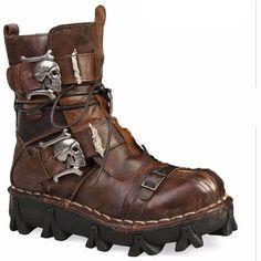 Handmade Leather Skull Boots
