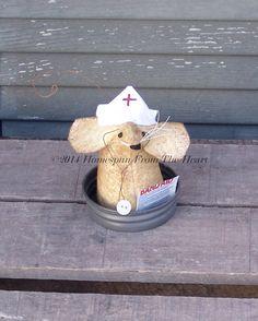 Primitive Nurse Mouse, primitive mouse, Nursing school gift, collectible    Nurse mouse has a tiny button stethoscope and a handmade nursing hat;