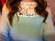 DIY sweatshirt makeover. Take the top apart and add lace!