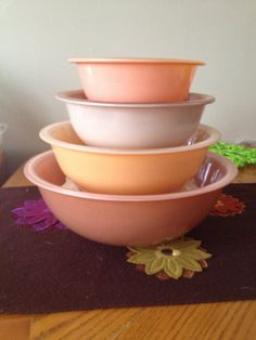 Autumn Rainbow Vintage Pyrex Nesting Bowl Set by YodelsVintageShop