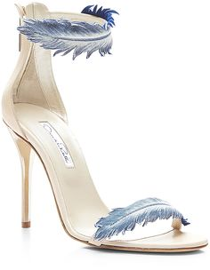 Oscar de la Renta Aubree Feather-Detail Suede High-Heel Sandals