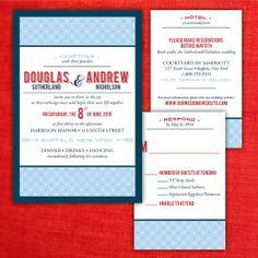 Custom Diamond Pattern Same-Sex Wedding Invitations by InviGAYtions