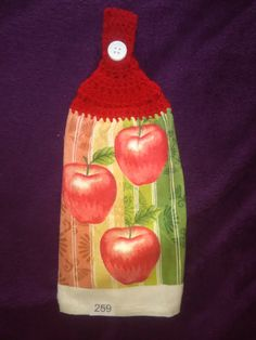 Handmade crochet hanging kitchen towel, great for bathroom also. #259 APPLES W RED TOPPER by KatiLilly on Etsy