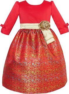 Sunny Fashion Robe Fille Fit & Éclater Briller Jacquard Noël Vacances 4-10 ans: Bonne robe de qualité offrent une charmante touche finale…