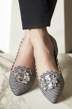 Bejeweled flats in black & white stripe | Sole Society Libry