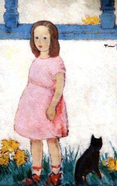 """Girl With Cat"" by Nicolae Tonitza - Romanian - 1886 - 1940 Romanian Girls, Black Cat Art, Pretty Cats, Pretty Kitty, Post Impressionism, Arts Ed, Art Challenge, Sculpture, Crazy Cats"
