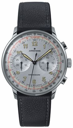 027/3380.00 Meister Telemeter by Junghans. A handsome, matte silver plater dial and a satin finished stainless steel case surround this stunning display. This self-winding watch includes chronoscope with second stop, and 30 minute counter. Finished with a sturdy saddle leather strap it will impress. Shop now! http://www.junghanswatchesusa.net/027338000-Meister-Telemeter_p_361.html