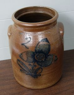Antique Stetzenmeyer Rochester NY Stoneware Crock Cobalt Blue Flower Decoration