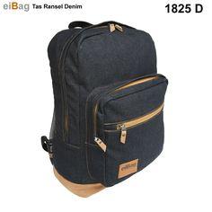 Jual tas ransel denim murah menggunakan bahan dry denim warna biru tua dan  variasi bahan suede coklat c908a68d84