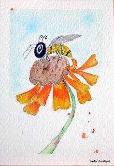 BEE HAPPY original ACEO watercolor FREE SHIPPING