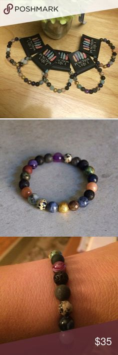 Essential Oil Diffusing Stretch Bracelet Mixed gemstone diffuser bracelet. Made with natural gemstones, lava stones and gold accents. Can be worn as jewelry or as an essential oil diffuser. Enjoy the therapeutic benefits of oils all dry by adding 1-2 drops of an essential oil to the lava stones (4 stones on each bracelet - black porous beads). The scent will diffuse for 1-2 days depending on the oil. Made with love in CA❤️. Second photo courtesy of Function & Fringe Function & Fringe Jewelry…