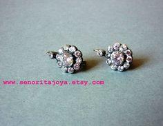 pearl earrings with brown faceted glass (by senorita joya via emmaline bride) #handmade #wedding #bride #earrings